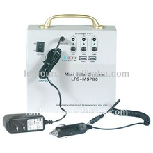 High quality Mini home solar power energy system ( model: LFS-MSP 80 ) + LED solar power light kit lamp + DC 5V / 12/ V output