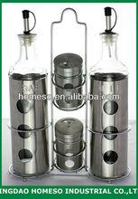 kitchen oil vinegar salt pepper cruet condiment spice rack set