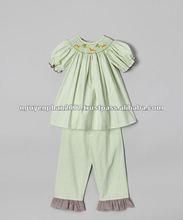 Green Gingham Giraffe Smocked Top & Pants - Infant & Girls