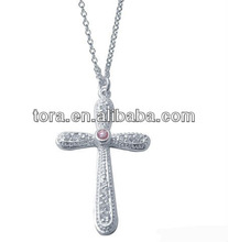 high quality necklaces 2013 classical design silver plated necklace cross
