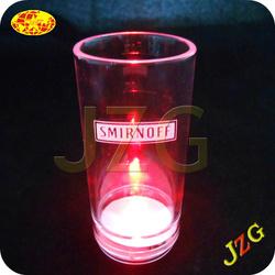 Eco-friendly plastic 50ml glow vodka LED glass
