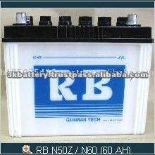 Thailand High Quality 60 AH 12V MF Auto Battery