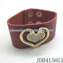 Lovely Crystal Heart Jewelry Wide Cuff Leather Bracelets