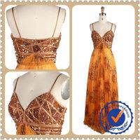 Light brown bling beaded fashion mature woman evening dress