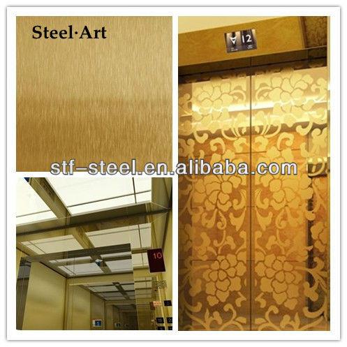 La cabina del ascensor/304 hoja de acero inoxidable/piezas del elevador
