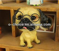 Antique resin face sculpture lovable dog
