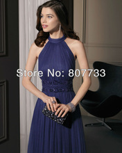 CW296 Free shipping 2013 elegant purple beaded halter a line long evening dress
