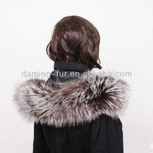 2015 genuine silver fox fur hood trim/collar