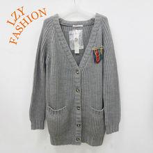 Women bulky acrylic wool shool style V neck rib cardigan heavy sweater