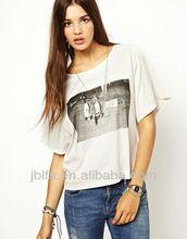 100%Cotton Customized logo fashion Women's T-shirt (OEM) 2013