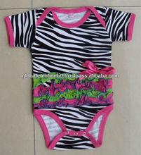 100%cotton interlock zebra printed cute baby romper