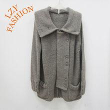 Women bulky alpaca wool big collar planket and pockets button cardigan sweater 2013