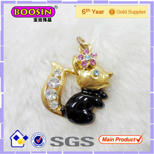 Fake Diamond Gold Squirrel Charm Pendant #16834