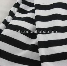 Fabric factory supply black white bold stripe single jersey fabric