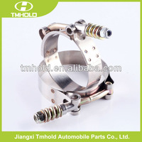 Heavy duty exhaust spring loaded pipe clamp with T bolt