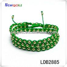 Custom Woven Friendship Bracelet 14k Gold Beads Wholesale LDB2885