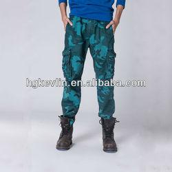 Branded high quality mens cotton blue camo cargo pants design