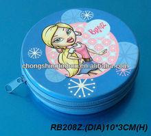 (dia)10*3cm(H) round metal zipper case, coin zipper case
