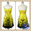 la capa de malla de color amarillo mini niña vestido de fiesta vestido de noche