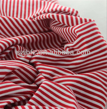 Yarn dyed cotton fabric with red white pinstripe