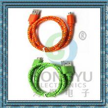 Vendita calda compatibile per samsung/htc/nokia/mora nylon intrecciato cavo micro usb