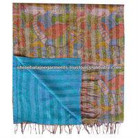 authentic indian vintage kantha work reversible silk shawls/scarves/stoles