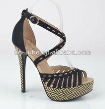 Latest fashion summer black suede high heel sandals women