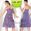 Hot Sale Good Quality Organza Sweetheart Ruffled Knee Length Formal Evening Dress