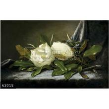 Handmade famous Magnolias Flower Oil Painting on canvas, Giant Magnolias on a Light Blue Velvet Cloth