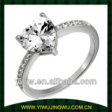 women wedding Ring with 2 Carat Cubic Zirconia Heart Sterling Silver Pave