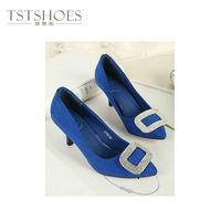 2014 Latest New Custom Designed Shoes Wholesale Pointed Toe Thin Heel Ladies Shoes Blue Diamond Studded Shoes