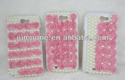 full Pearl Bling diamond rose flower case for Samsung Galaxy Note 2 II N7100