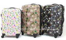 Original print design expandable colourful travel trolley luggage bag