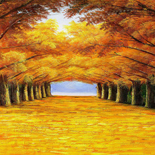 golden road in autumn forest oil painting good quality polyester canvas