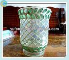 mosaic glass cup flower arrangement