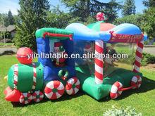12' rare inflatable christmas santa train wih snowman