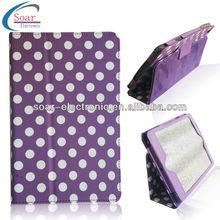 Purple dot design leather cover case for ipad mini
