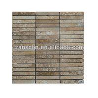 brown strip shape slate stone mosaic wall tile for decoraion