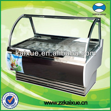 Commercial Ice Cream Freezer with Curved Glass