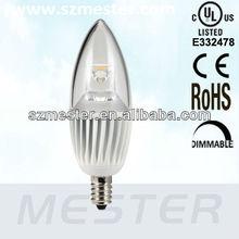 UL cUL Listed Energy Star Pending 4.5W 300lm E12 Base LED Candle light