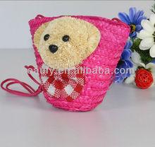smart purse for teenager children straw shoulder bag