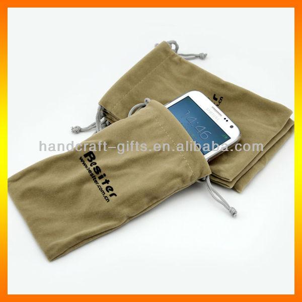 Custom quality silk screen printing logo for the mobile phone velvet pouch