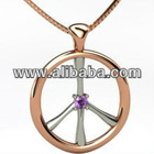 Diamond Peace Sign Swirl Pendant Necklace 14k Rose Gold (0.15ct)