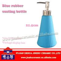 Blue ceramic hand soap dispenser for bath