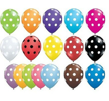 "Pack of 6 Qualatex 11"" Polka Dot Party Balloons (Helium or Air)"