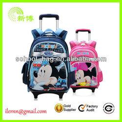 Fashion Polyester Kids Trolley school bag for girls