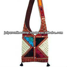 Indian Ethnic Handmade Embroidered Shoulder Bag with Mirror Work