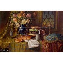 Hand painted Judaica still life oil painting Jewish Art on canvas, Elena Flerova flower violin