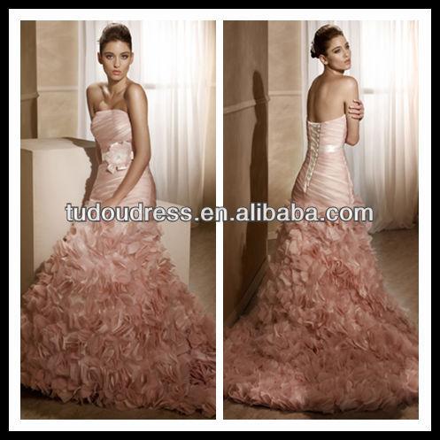 SW115 Elegant Hot Flower Ruffles Strapless Mermaid Lace-up Back Fashion Sexy Beautiful Pink Long ...