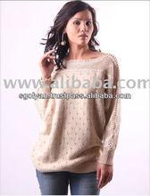 Best Quality Off Shoulder Women Cashmere Cotton Sweater